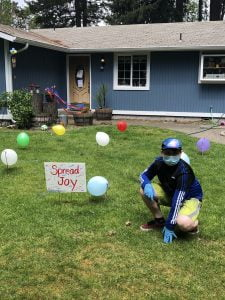 The Masked Birthday Bandits spread joy throughout Thurston County because they wanted to encourage hope and connections. Photo courtesy: Masked Birthday Bandits